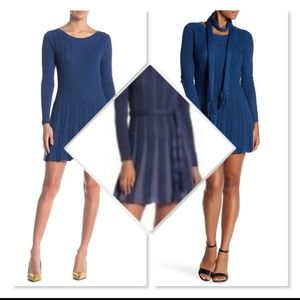 Papillon Fit & Flare Sweater Dress sz XL in Blue.